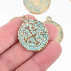 5 Gold Coin Relic Charm Pendants, round coin charms, green verdigris patina gold plated metal, double sided design, 30x25mm, chs3036