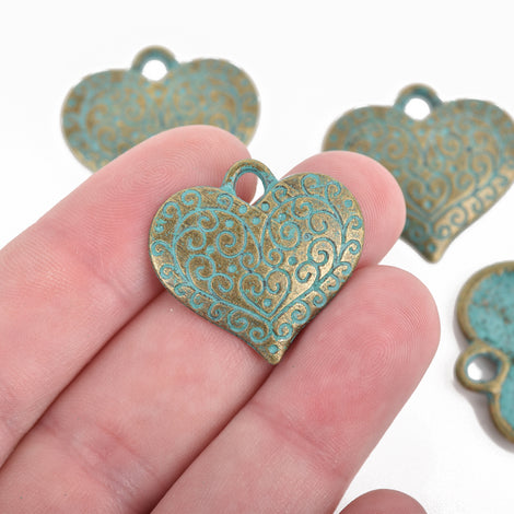10 Bronze Heart Charms, Green Verdigris Patina, filigree heart design, 27x26mm, chs3088