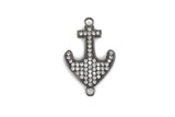 Gunmetal ANCHOR Charm, Micro Pave Cubic Zirconia Crystals, Rhinestone 2-hole Connector Link, Gunmetal Brass Metal, 24x15mm, chs3271