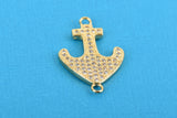 Gold ANCHOR Charm, Micro Pave Cubic Zirconia Crystals, Rhinestone 2-hole Connector Link, Gold Brass Metal, 24x15mm, chs3272