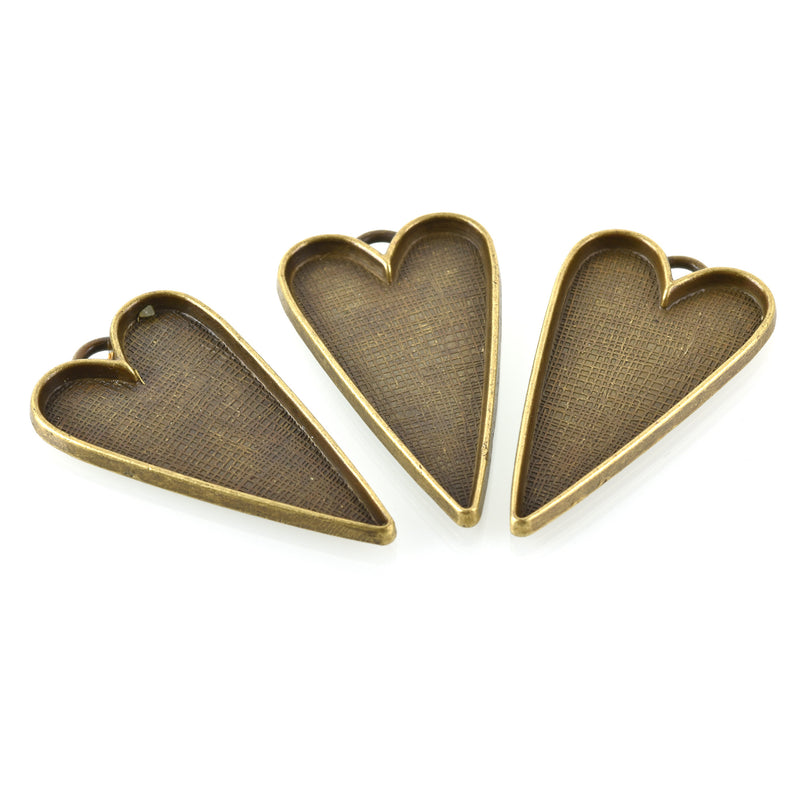 "2 Bronze Bezel HEART TRAYS Pendants for Resin, Cabochons, fits 2"" inside tray, chs3363"