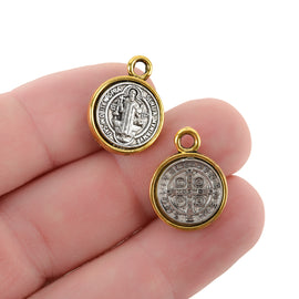 5 Religious Medal Charms, Gold and Silver Relic Charm Pendants, double sided Patron Saint charms, 19x14mm, chs3370