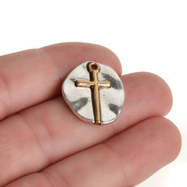 10 Silver Coin Relic Charms, Silver Coin with Gold Cross, round coin charms, 21x19mm, chs3443