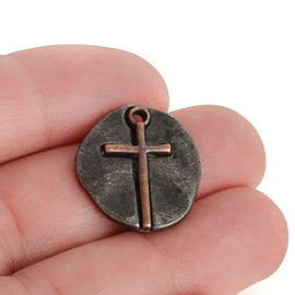 10 Gunmetal Coin Relic Charms, Gunmetal Coin with Copper Cross, round coin charms, 21x19mm, chs3444