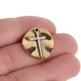 10 Gold Coin Relic Charms, Gold Coin with Silver Cross, round coin charms, 21x19mm, chs3446