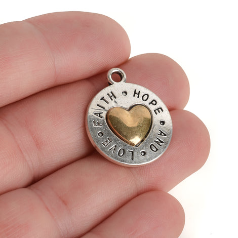 5 Silver Coin Charms, Silver Coin with Gold Heart, FAITH HOPE LOVE, round coin charms, 24x20mm, chs3449