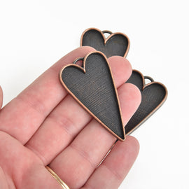"2 Copper Bezel HEART TRAYS Pendants for Resin, Cabochons, fits 2"" inside tray, chs3472"