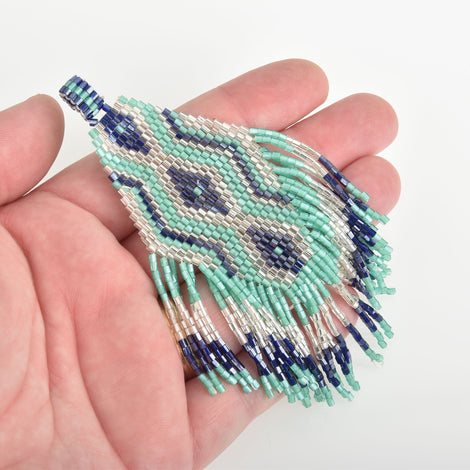 "1 Beaded Fringe Tassel Pendant, Miyuki Delica Seed Beads, Chevron Diamond Design, Blue Green Silvery, 4.75"" long, chs3479"