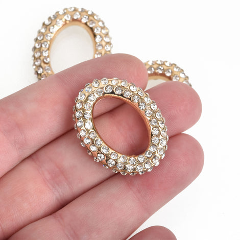 1 Rhinestone OVAL CONNECTOR Pendant Charm Holders, gold plated metal base and clear crystals, 32x25mm, chs3482