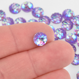 8mm MERMAID FISH SCALE Cabochons, Round Resin Metallic, purple iridescent, 50 pieces chs6110