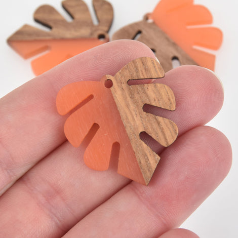 "1 Monstera Leaf Charm, Orange Resin and Real Wood, 1-1/8"" long, chs6308"