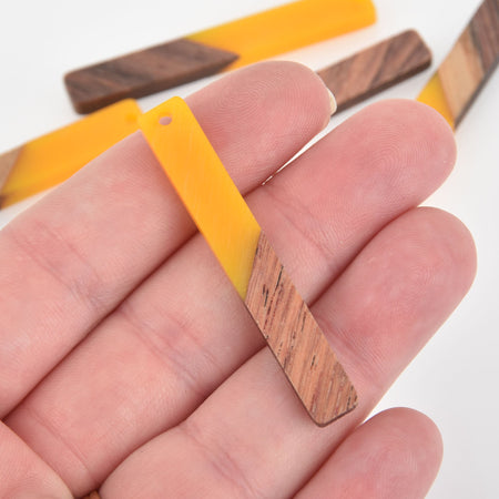 "2 Stick Charms, Yellow Resin and Real Wood, 2"" long, chs6312"