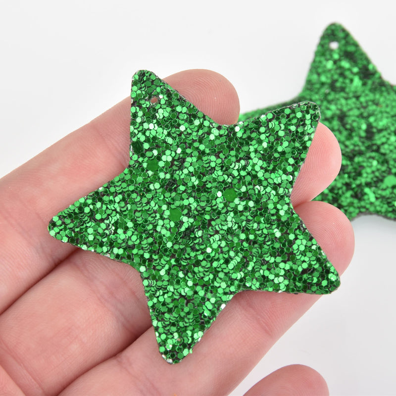 "2 Green Faux Leather STAR Glitter Charms Vegan Leather, 2"" long chs6327"