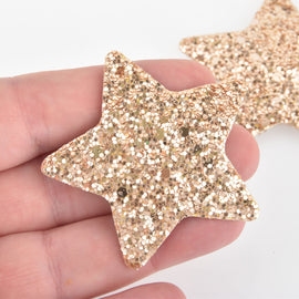 "2 Gold Faux Leather STAR Glitter Charms Vegan Leather, 2"" long chs6329"