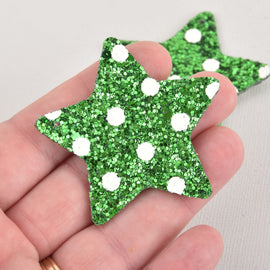 "2 Green Faux Leather STAR Glitter Charms, Polka Dot Vegan Leather, 2"" long chs6335"