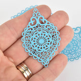 "2 Metal Teardrop Charms Filigree Enamel, Turquoise Blue with Glitter, 2-1/4"" long chs6353"