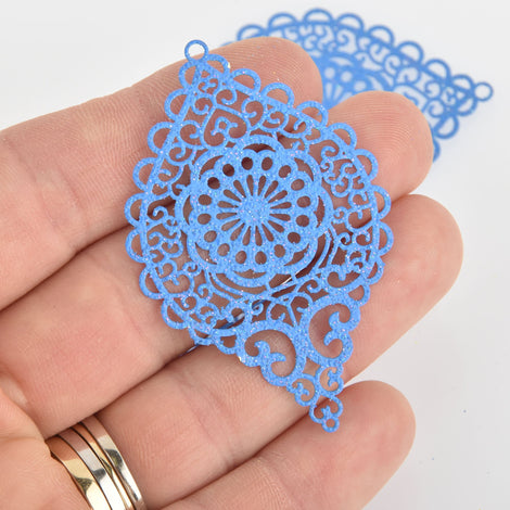 "2 Metal Teardrop Charms Filigree Enamel, Blue with Glitter, 2-1/4"" long chs6354"