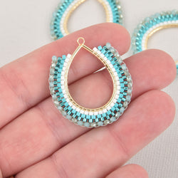 Blue Beaded Drop Charm, Miyuki Seed Beads, 34mm chs6357