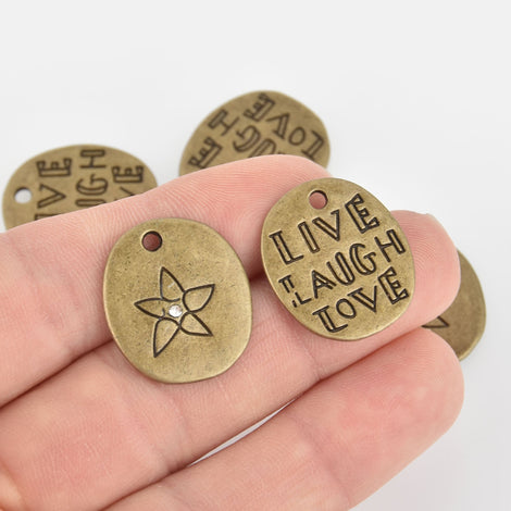 2 Bronze LIVE LAUGH LOVE Charms with crystal, 23mm chs6370