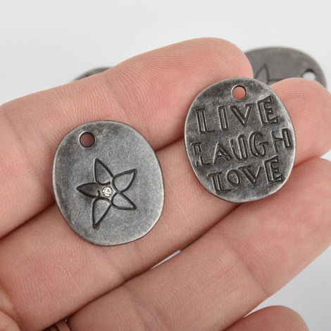 2 Gunmetal LIVE LAUGH LOVE Charms with crystal, 23mm chs6372