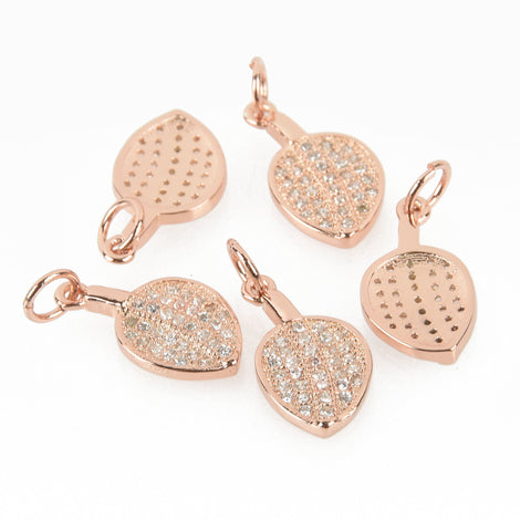 Rose Gold Leaf Micro Pave Charms, CZ stones, 16mm chs6385