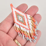 "1 Beaded Fringe Tassel Pendant, Miyuki Delica Seed Beads, Diamond Design, 3.5"" long, chs6387"