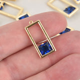 1 Blue Crystal Charm, gold rectangle, CZ cubic zirconia, chs6397