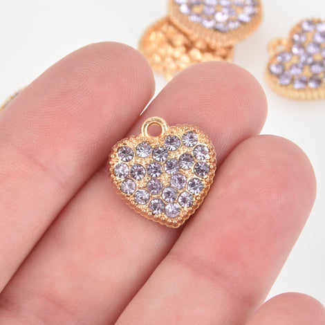 2 Light Purple Rhinestone Heart Charms, gold plated, 17mm, chs6405
