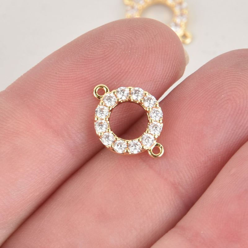 1 Gold Round Charm, Micro Pave Crystal Connector Link, 15x10mm, chs6407