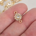 5 Gold Connector Link Charms, Round Crystal Rhinestones, 17mm, chs6424