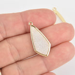 1 White AB Druzy Drop Charm with Gold Bezel, chs6427