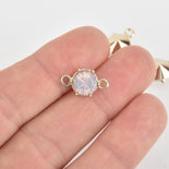 5 Gold Connector Link Charms, Pink Opal Crystal with acrylic base, 16x9mm, chs6434