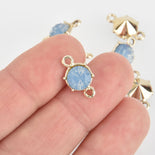 5 Gold Connector Link Charms, Blue Opal Crystal with acrylic base, 16x9mm, chs6436