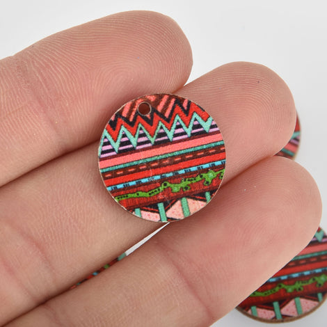 10 Wooden Charms, Red Aztec design, 20mm, chs6440