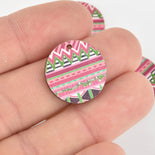 10 Wooden Charms, Pink Aztec design, 20mm, chs6441