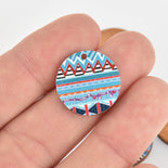 10 Wooden Charms, Blue Aztec design, 20mm, chs6442