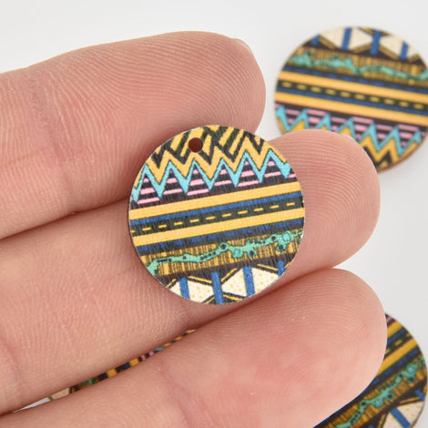 10 Wooden Charms, Yellow Blue Aztec design, 20mm, chs6443