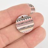 10 Wooden Charms, Pink Aztec design, 20mm, chs6444