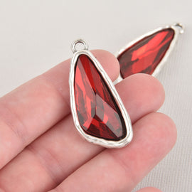 Red Rhinestone Drop Charm, Wing Crystal Glass in Silver Tone Bezel, 41x19mm, chs6445