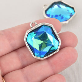 Blue Iridescent Rhinestone Drop Charm, Square Crystal Glass in Silver Bezel, 32x27mm, chs6447