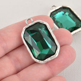 Green Rhinestone Drop Charm, Rectangle Octagon Crystal Glass in Silver Bezel, 37x23mm, chs6449