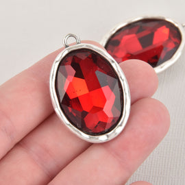 Red Rhinestone Drop Charm, Oval Crystal Glass in Silver Tone Bezel, 39x26mm, chs6450