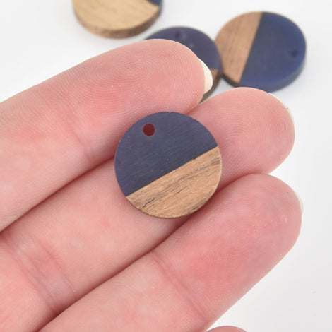 2 Round Charms, Dark Blue Resin and Real Wood, 18mm, chs6458