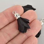"4 Black Flower Rose Floral Fabric Tassel Charms Silver Tone Cap 33mm long (about 1-1/4"") Chs6508"