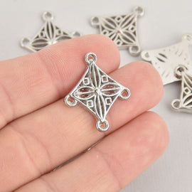 10 Silver Charms Diamond Filigree Chandelier Design 25mm, chs6565