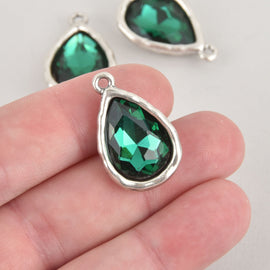 Green Rhinestone Drop Charm, Teardrop Crystal Glass in Silver Tone Bezel, 27x17mm, chs6585