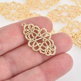 "2 Gold Filigree Charms flat findings, 18k gold plated, 1.25"" long, chs6590"