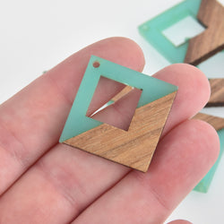 "1 Square Charm, Mint Green Resin and Real Wood, 1"", chs6597"