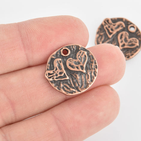 8 Copper Heart Charms, Valentines Day, 20mm, chs6625