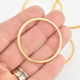 2 Gold Ring Circle Charms 40mm Brushed gold plated, chs6647